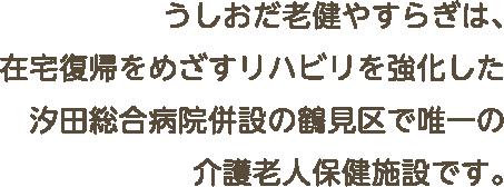 うしおだ老健やすらぎは、在宅復帰をめざすリハビリを強化した汐田総合病院併設の鶴見区で唯一の介護老人保健施設です。
